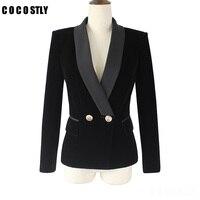 High Quality 2018 Spring Velvet Blazer Women Slim Long Sleeve ladies Blazers OL Formal Work Suits jacket Female Gold Button