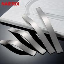 NAIERDI Cabinet Handles Drawer Knobs Aluminum Alloy Wardrobe Door Handles Brushed Pulls Simple Modern Style Furniture Handle стоимость
