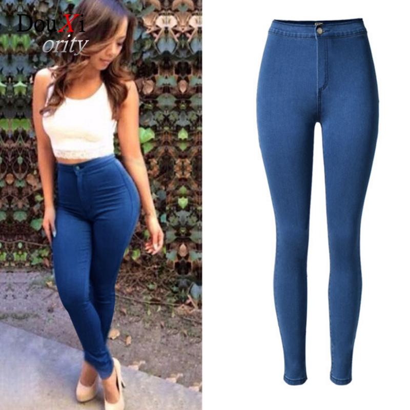 Women Jeans Pencil Pants New 2017 Vintage Sexy High Waist Fashion Stretch Trousers Hip Up Denim Legging Skinny Slim Elastic Blue free shipping wild cat limited edition vintage pin up skinny pencil pants high waist hip up cotton denim pants women slim jeans