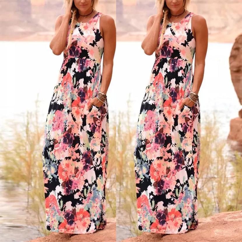 Womens Fashion Casual Summer O-Neck Sexy Women Summer Boho Print Floral Dress Ladies Long Maxi Dress Apr19