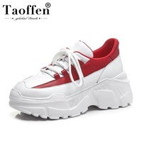 Taoffen Women Sneakers Genuine Leather Vulcanized Shoes Women White And Red Lace Up Outdoor Fitness Wedges Sneaker Size 34 39