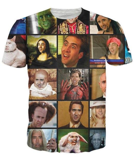 OPCOLV Fashion Summer Unisex Clothing Print Movie Stars Punk Nicolas Cage Rage Faces 3D T Shirt Funny Streetwear Hip Hop Tops