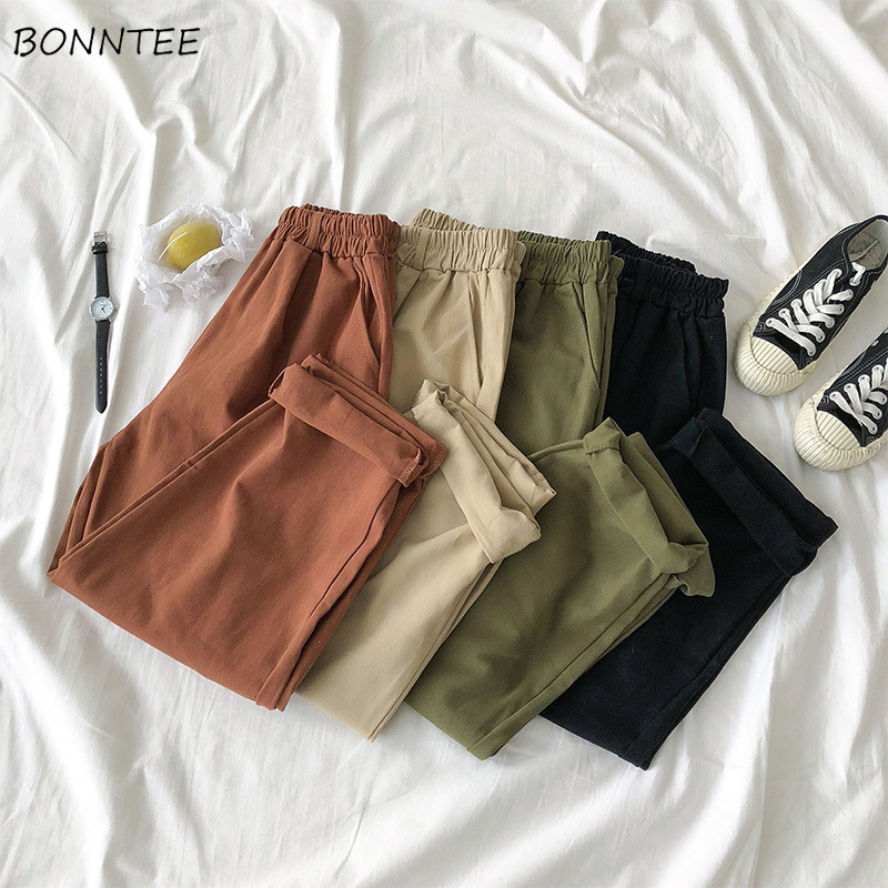Pants Women Solid Elastic Waist Korean Style All-match Students Womens High Quality Female Spring Autumn 2020 Chic Trousers Girl
