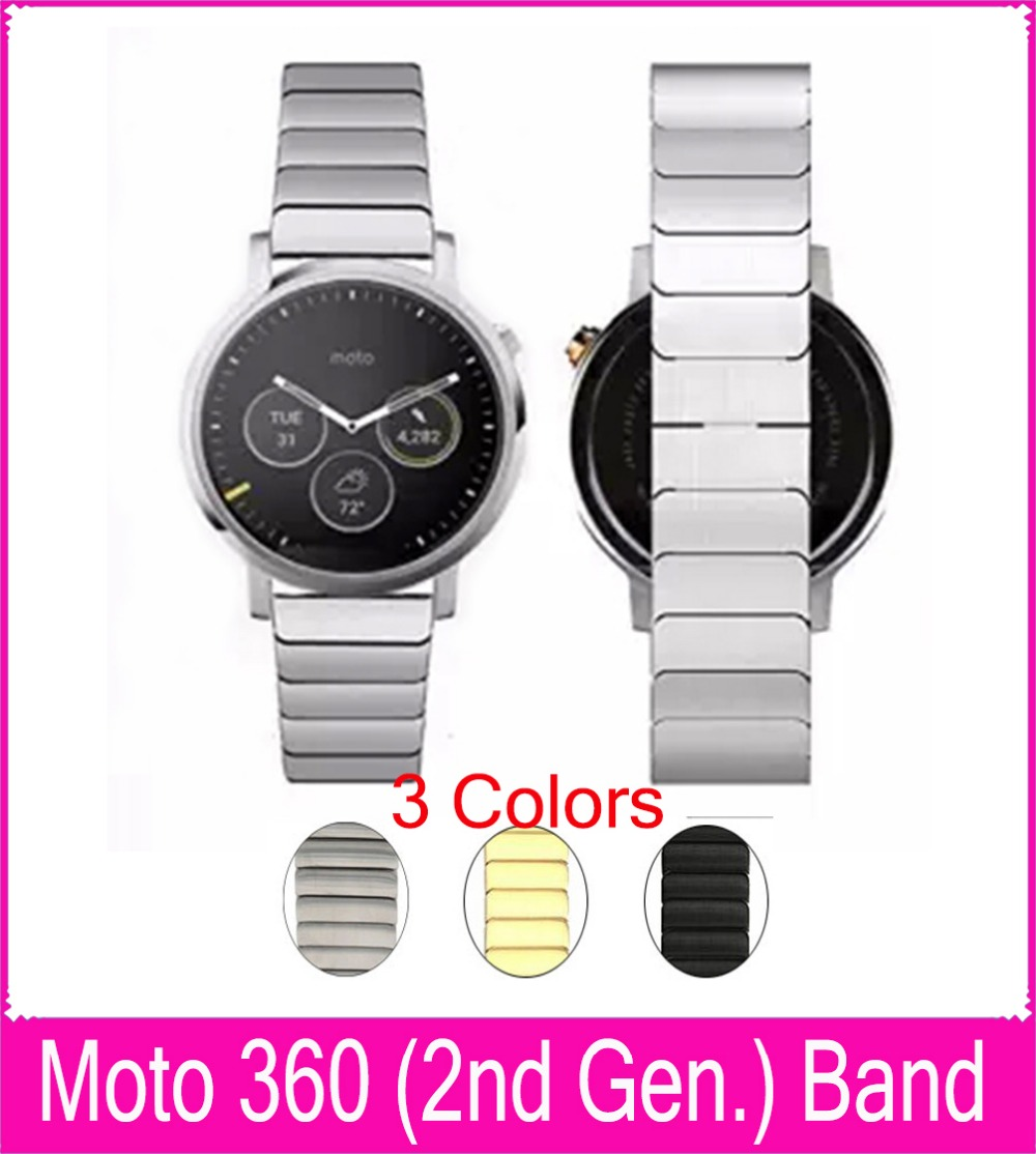 Black Silver Gold 22mm Link Bracelet Metal Watchbands For Motorola Moto 360(2nd Gen.) Smart Watch With 2 Connecting Rod + Tool motorola smart