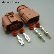 shhworldsea 5/30/100sets 6.3mm 2pin 2way male female heavy current connector electric fan socket for VW 3B0 973 852A