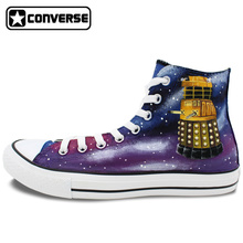 Design Men Women Converse Chuck Taylor Shoes Hand Painted Galaxy Police Box Athletic High Top Canvas Sneakers Gifts Presents