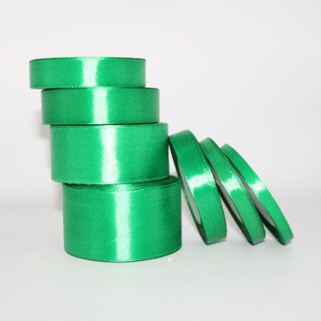 25 Yards Dark Green Silk Satin Ribbon Wedding Party Decoration Gift Wring Christmas Arel Fabric Ribbons