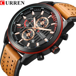 CURREN Watches Men Top Brand Luxury Leather Strap Quartz-Watches Sport Men's Clock Casual Business Wristwatches Hodinky Relojes