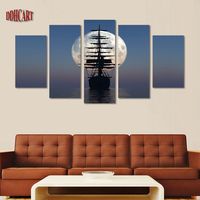 5 Piece Modern Canvas Art Wall Art Prints Painting Moon Ship Picture Canvas Home Decor Poster