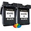 2x Совместимость HP 650 hp650XL Черный Картриджи для HP Deskjet 2545 2645 3515 4645 Принтер