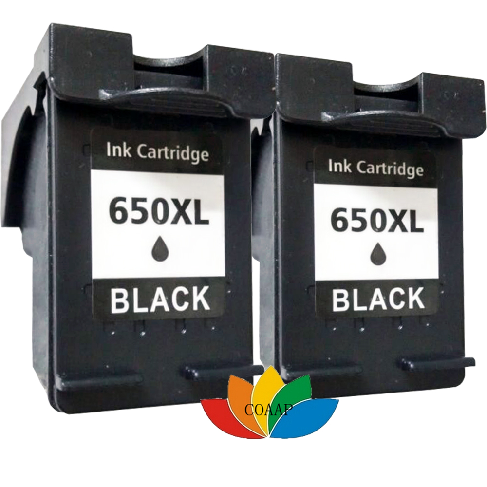 2x Compatible HP 650 hp650XL Black Ink Cartridges for HP Deskjet 2545 2645  3515 4645 Printer