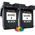 2x Compatible HP 650 hp650XL Black Ink Cartridges for HP Deskjet 2545 2645 3515 4645 Printer