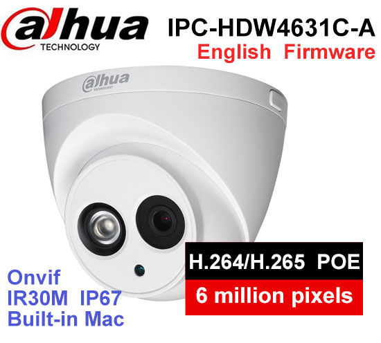 Dahua POE 6MP IP Camera IPC-HDW4631C-A IR 30m H.265 Built-in MIC IP67 Onvif Night Version WDR Surveillance Dome Camera free shipping dahua cctv camera 4k 8mp wdr ir mini bullet network camera ip67 with poe without logo ipc hfw4831e se