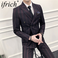 New Men Suit 3 Pieces Set Double Breasted Wedding Groom Suit with Pants for Men Wedding Suits Prom Best Man Suit Hot Sell 2018