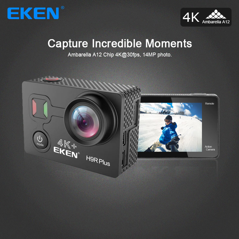 EKEN H9R Plus Action Camera Ultra HD 4K Ambarella A12 4k/30fps for Panasonic 34112 14MP go waterproof pro wifi sport Cam eken h6s a12 ultra 4k 30fps wifi action camera 30m waterproof 1080p go eis image stabilization ambarella 14mp pro sport cam