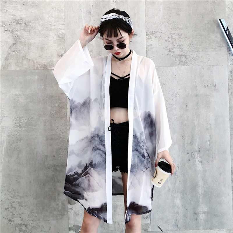 Японские наряды кимоно кардиган женский юката женское китайское кимоно harajuku kawaii одежда блузка рубашка haori obi KK2729