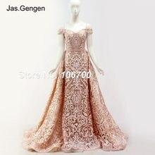 b19346c2ca8 Съемный Хвост Аппликации из вышитого кружева длинное вечернее платье двойка  кепки рукава свадебные Выпускные платья vestido