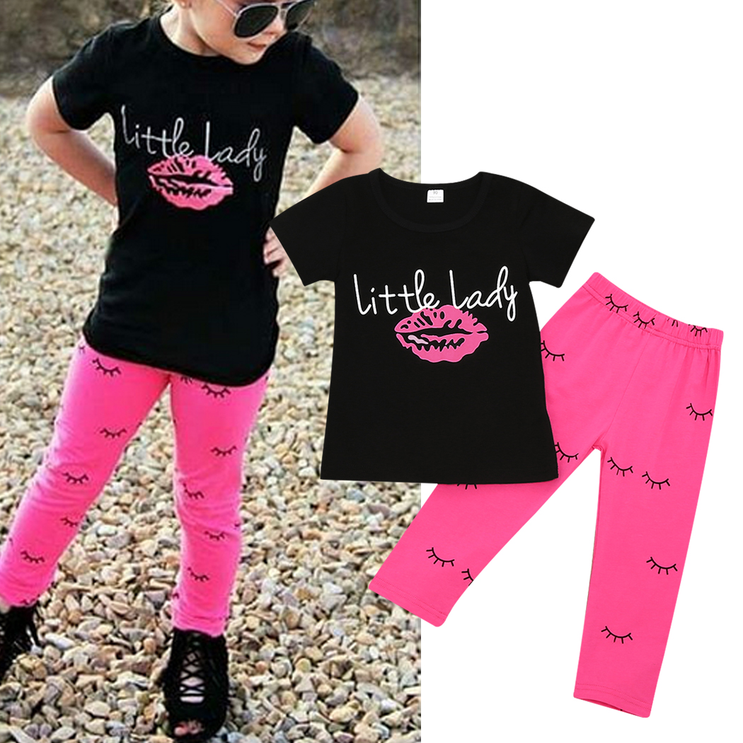 2pcs/set Children Girl  Short-Sleeve Tee Shirt Clothing Set Letter Pattern with Long Pants Summer Kids Tops Pants Costume 2017 2017 fashion brand domeiland summer children clothing for kids girl short sleeve print floral cotton tee shirts tops clothes