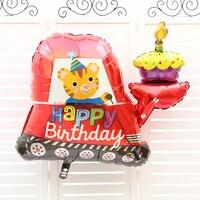 Niños bebé feliz cumpleaños foil globo de helio inflable decoración del partido suministros de dibujos animados de coches fiesta de cumpleaños del bebé globos