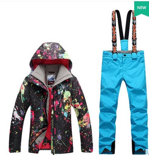 8387ffafe92e Women ski suit female riding climbing skiing suit black graffiti ski jacket  and yellow green suspender ski pants bib pants