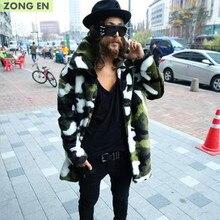 b7fa8a9776b5c 2018 New fashion Men's Faux fur coat Camouflage warm rabbit warm jacket  mens winter leather jackets