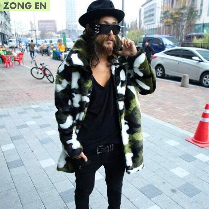 2018 ใหม่แฟชั่นผู้ชาย Faux fur coat Camouflage warm กระต่ายอบอุ่นแจ็คเก็ตบุรุษหนังฤดูหนาวแจ็คเก็ต Lapel กลางแจ้ง windbreaker-ใน เสื้อโค้ทหนังสังเคราะห์ จาก เสื้อผ้าผู้ชาย บน   1