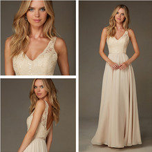 2016 New Simple Prom Dresses V-Neck Chiffon A-Line Party Gowns Sleeveless Lace Appliques Sequined Evening Dresses