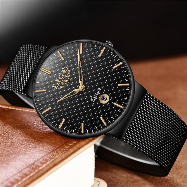 LIGE Mens Watches New luxury brand watch men Fashion sports quartz-watch stainless steel mesh strap ultra thin dial date clock