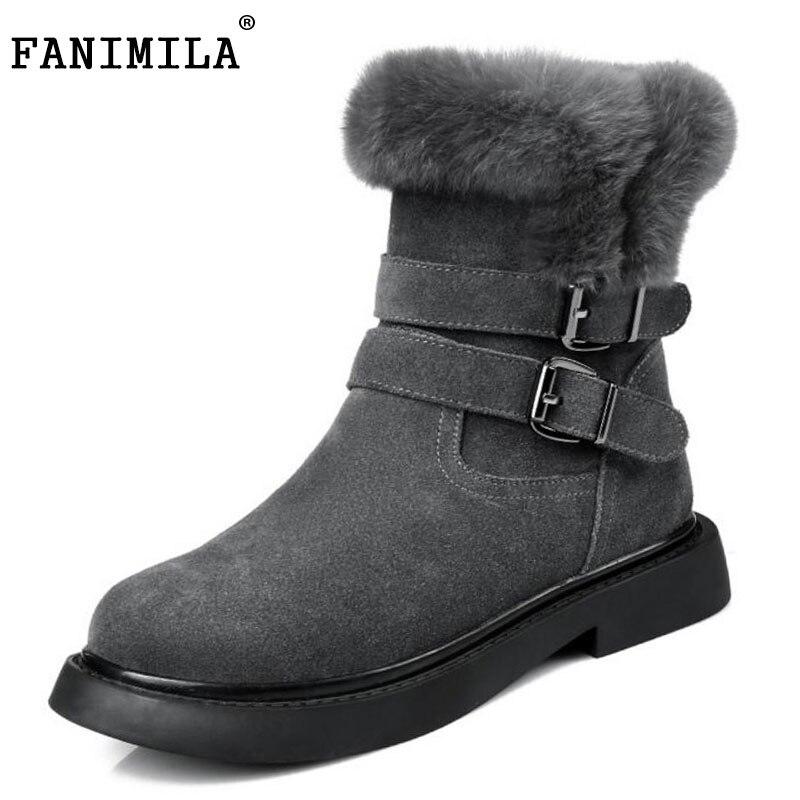 FANIMILA Women Genuine Leather Snow Boots Metal Buckle Thick Fur Shoe Warm Short Botas For Cold Winter Women Footwear Size 34-39