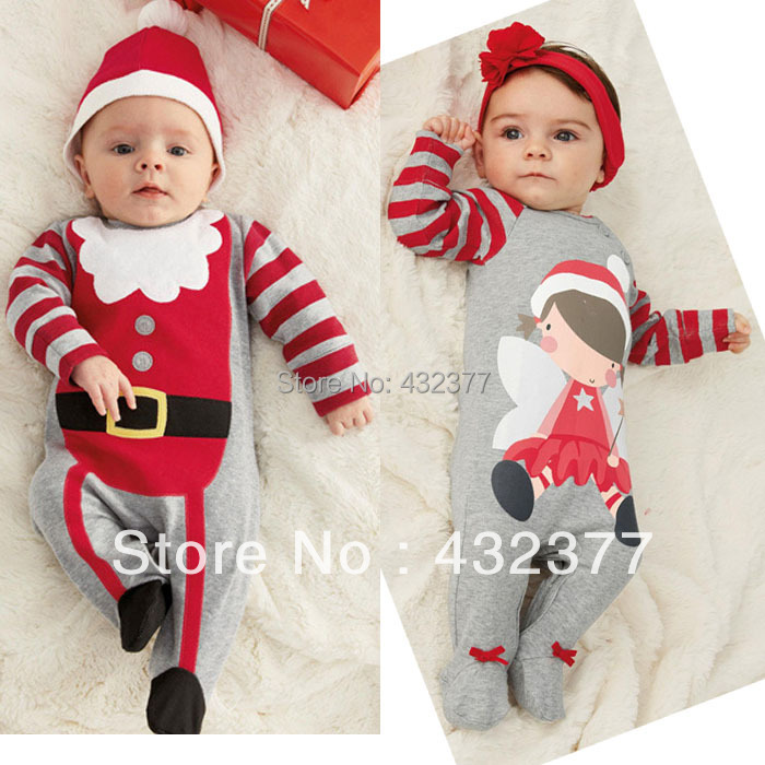 clearance Christmas baby romper toddler kids long sleeve clothes boy and girls clothing sets( hat+romper)