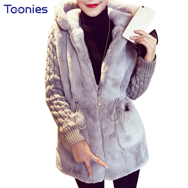 Autumn and Winter Fashion Faux Fur Coat for Women Long Type Hooded Knitted Stiching Thick Warm Winter Oversized Overcoats Womens
