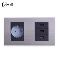 EU Standard Wall Socket 3 Way USB Charge Port For Mobile 5V 2 1A Output Stainless