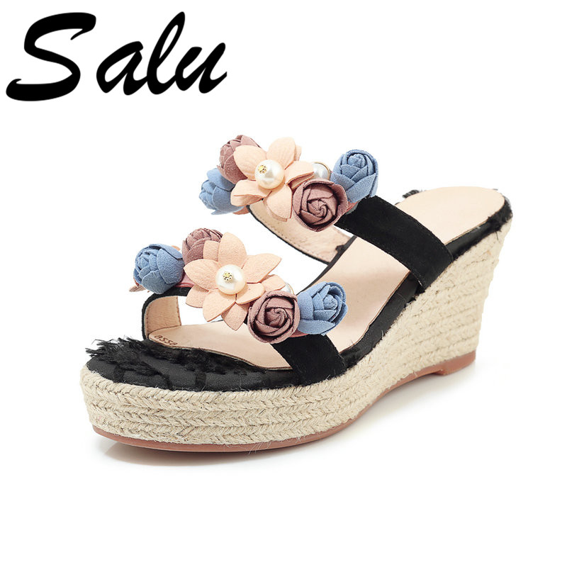 a5eb7611668907 Rond Chaussures Bout 2019 Fleur Cales rose Boucle De Salu Douce Fête Mariage  Daim Femme Perle Femmes Enfant Été Noir ...