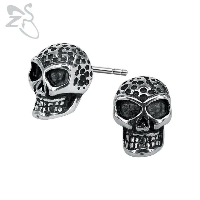 Black Point Skull Earring Vintage 316 Stainless Steel Earrings For Men Boys Hip Hop Punk