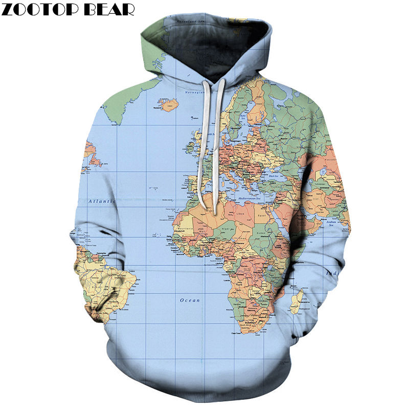 Blue Earth Map 3D Print Spring Casual Hoody Fashion Sweatshirt Men Tracksuit Hoodie Pullover Streetwear Coat DropShip ZOOTOPBEAR