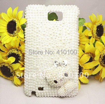 NEW ARRIVAL Bling Beautiful White Pearl cover Case for Samsung Galaxy Note i9220/GT-N7000 Hot Sale
