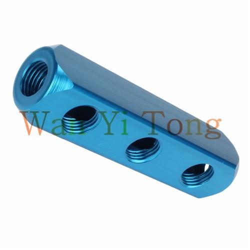 G1/4 6 Ports 3 Ways Quick Connect Air Hose Aluminum Vacuum Manifold Block g1 4 aluminum 3 rows 10mm bore dia electromagneti c manifold valve holder