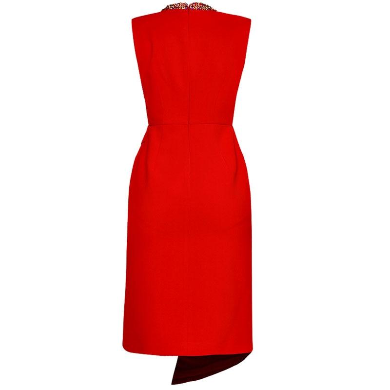Lady Mince Manches Femmes Office Fashion Roosarosee Robe Irrégulière Sans Col High Chaude Robes Montant Street Rouge Diamants qwgX1P