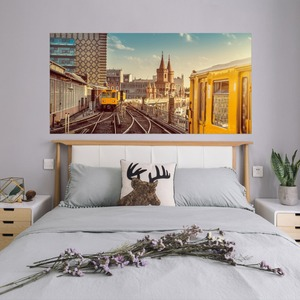 Image 5 - 도시 철도 메트로 벽 스티커 침대 머리 스티커 벽 스티커 침실 장식 및 pvc 홈 데 칼