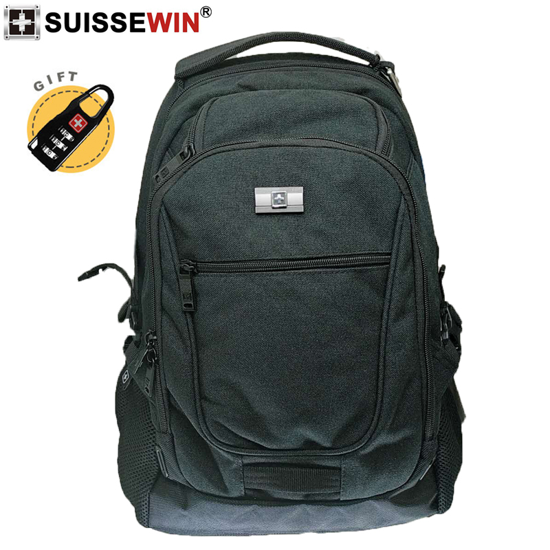 2019 New Swiss SUISSEWIN Black Nylon 17 Inch Laptop Backpack Large Capacity Portable School Bag Business Travel For Men