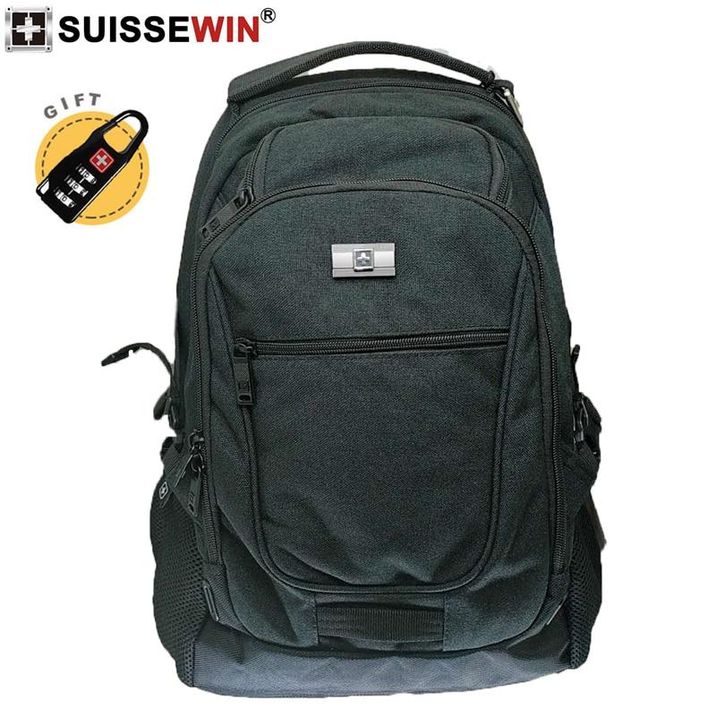 2019 nouveau SUISSEWIN suisse noir nylon 17 pouces sac à dos pour ordinateur portable grande capacité portable sac d'école voyage d'affaires pour hommes
