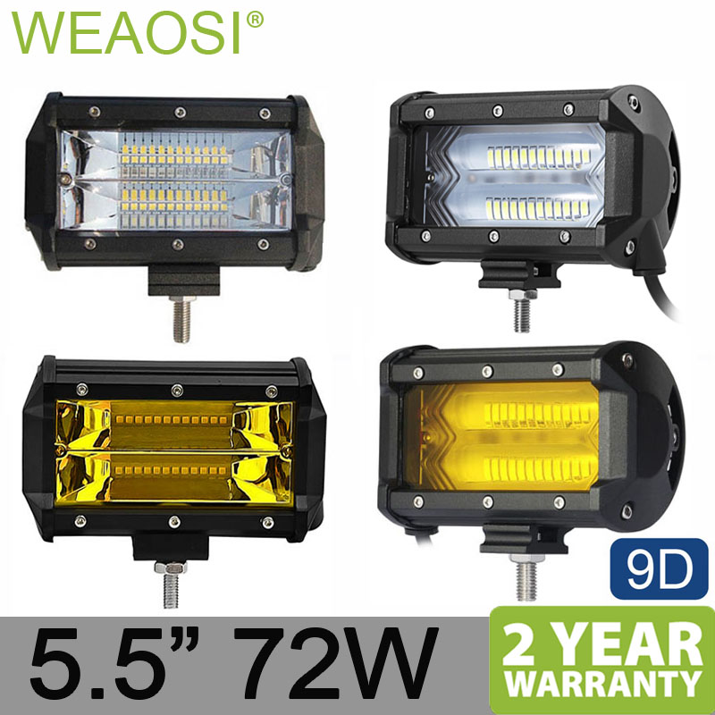 9D 2 pieces amber white high power 72W white LED work light 12v 24v offroad car