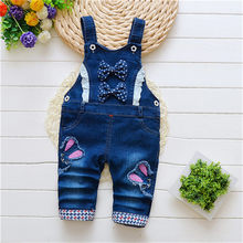 BibiCola Spring Kids Pants Cartoon Denim Overall Girl Bib Pants Boy Overalls Baby Rompers Jeans Children Jumpsuit For Girls(China)