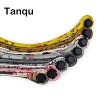 TANQU New 1 Pair Short Long Floral Print Soft Faux PU Leather Handle For Obag Classic