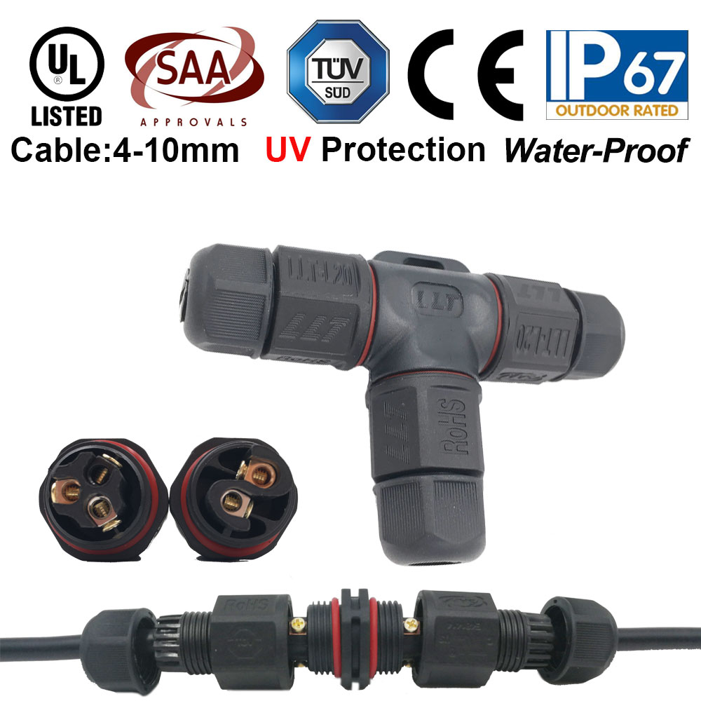 2x L20 I//T-shape Waterproof Electrical Cable Connector Plug IP67 2//3Pins Socket