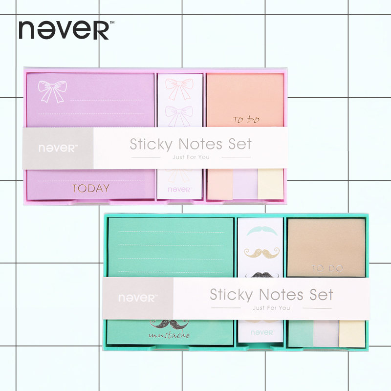 Never Color Sticky Notes And Memo Pads Set Post It Check List Sticker Planner Notepad Set Office Accessories Korean Stationery never creative sticky notes and memo pads set post it message tag fashion color business office accessories ladies stationery