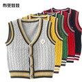 Nova primavera lazer inglaterra estilo crianças meninos camisola de malha colete de algodão A144