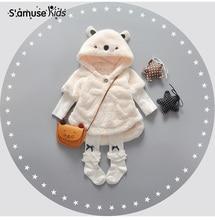 2016 Nouveau Bébé Fille Vêtements D'hiver De Fourrure De Mode de Manteaux Enfant Chandail Vestes Mignon de Bande Dessinée 3D Oreilles À Capuche Vêtements Enfants vêtements