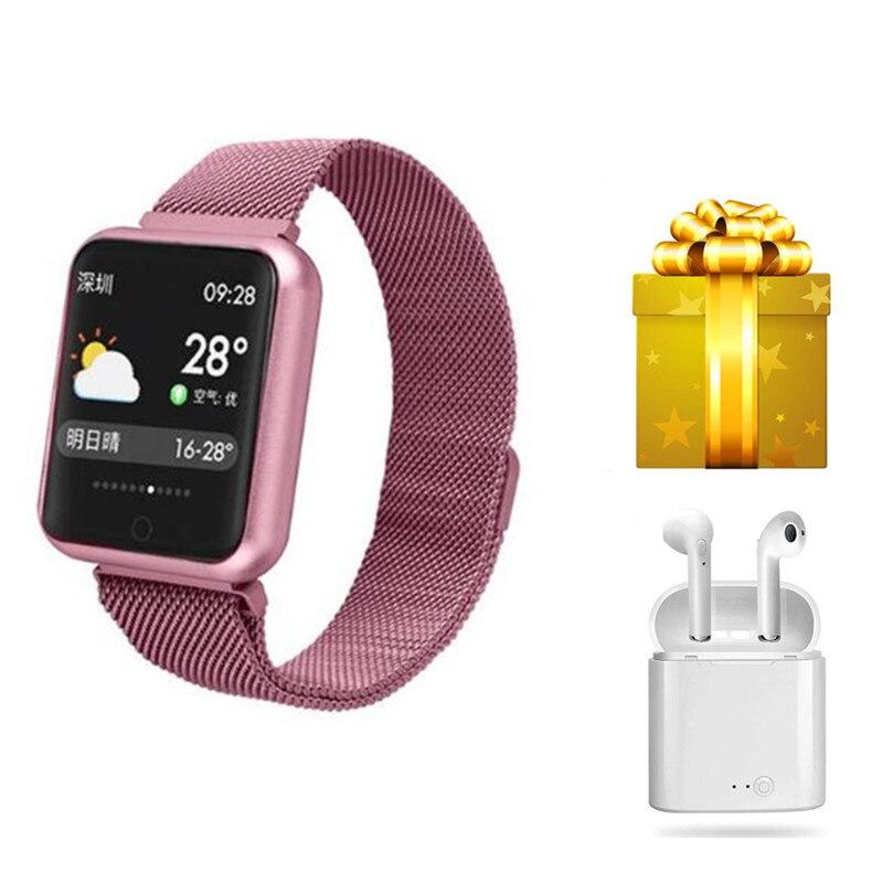 Pulsera inteligente + auriculares/set pulsera inteligente mujer impermeable ip68 smartwatch las mujeres para ios android chica smartband reloj-in Pulseras inteligentes from Productos electrónicos    1