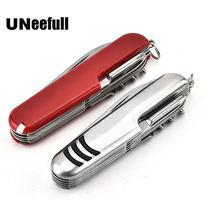 UNeefull швейцарский нож из нержавеющей стали, многофункциональные складные армейские ножи, нож для выживания на открытом воздухе, красный и серебристый
